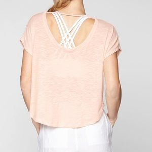 Athleta pink organic daily tee crop short sleeve